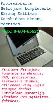Nešiojamo kompiuterio ekrano keitimas