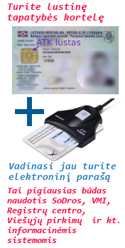 Asmens tapatybės kortelės elektroninio parašo skaitytuvas